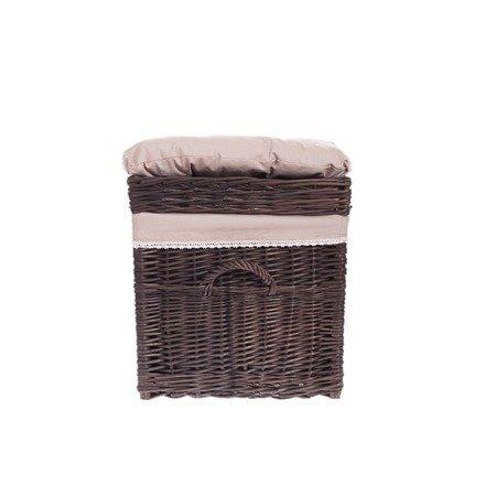 Brown wicker storage basket,  Bedding box