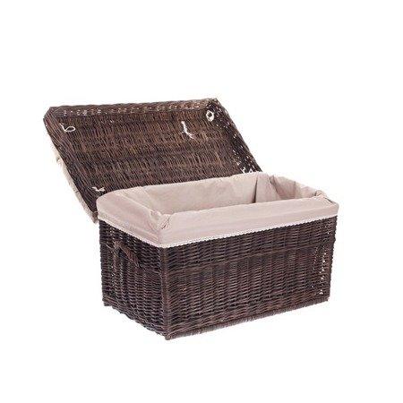 Wäscheschrank, Truhe für Wäsche, dunkelbraun mit Besatz und Kissen