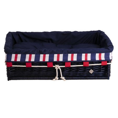 Granatowe prostokątne legowisko dla psa z poduszką