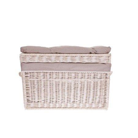 Kufer biały z szarym obszyciem 70cm