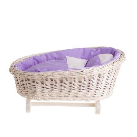 Łóżeczko wiklinowe dla lalek z obszyciem