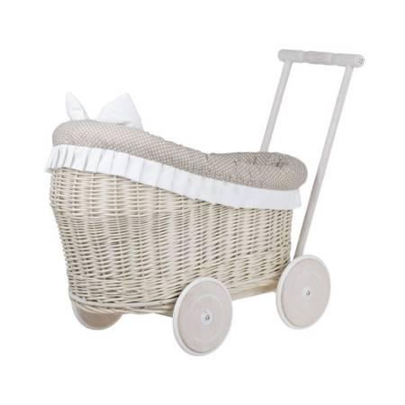Wózek wiklinowy dla lalek z obszyciem beżowym