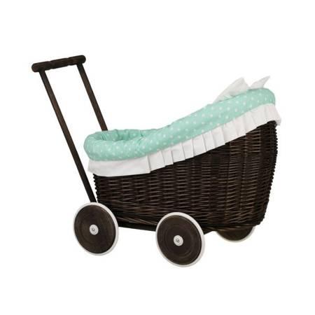 Wózek wiklinowy dla lalek z obszyciem seledynowym